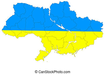 Map of Ukraine without the Crimea - The new contour map of...