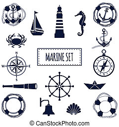 Flat marine set - Set of flat marine elements Vector...