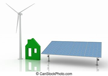 Ecological house with wind turbine and solar panel,...