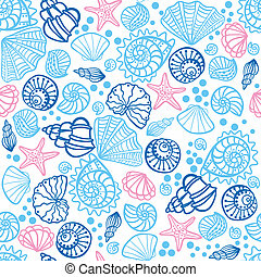Seamless pattern with seashells on white background.