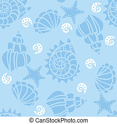 Seamless pattern with seashells on blue background Vector...