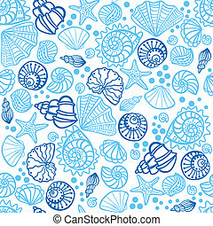 Seamless pattern with seashells on white background Vector...