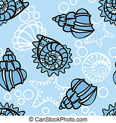 Seamless pattern with seashells on blue background. Vector...