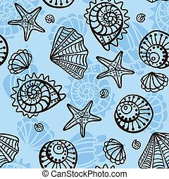 Seamless, próbka, Seashells, Błękitny, tło