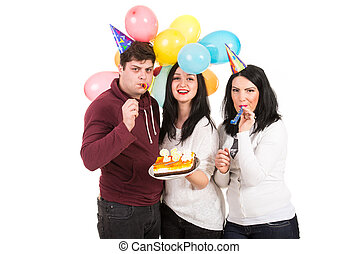 Cheerful friends celebrate birthday - Cheerful three firends...