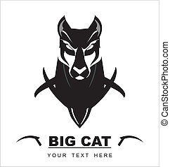 Staring Black Cat - Suitable for mascot, symbol, emblem...