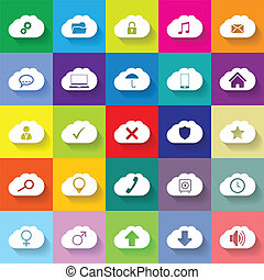 Cloud networking flat icon set of 25