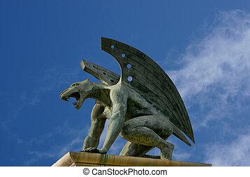 gargoyle of bridge of kingdom. Valencia. Spain - guardian...