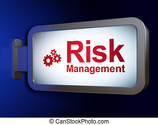 Business concept: Risk Management and Gears on billboard background
