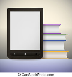 Electronic book reader with a stack of books. You may add...