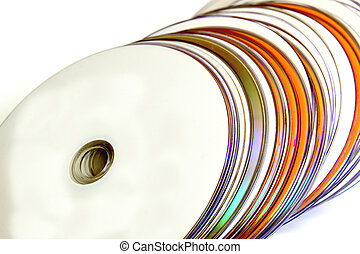 Close Up of Collection of Orange and White Compact Discs -...