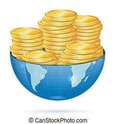 Earth with Gold Coins - Global Business Concept - Earth with...