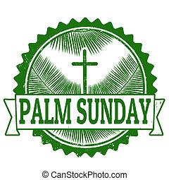 Palm sunday stamp - Palm sunday grunge rubber stamp on...