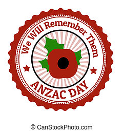 Anzac Day stamp - Anzac Day grunge rubber stamp on white,...