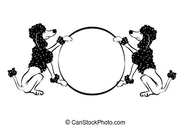 poodle - abstract illustration of trained dogs holding a...