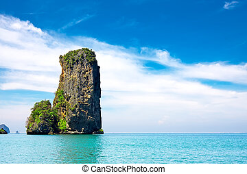 tropical beach with sea and limestone rock, Krabi, Thailand