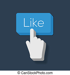 Like us Button with Hand Shaped Cursor, vector Eps10 image.