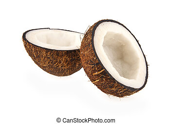 two halves of coconut on a white background