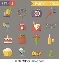Retro Flat Birthday Party Celebrate Icons and Symbols Set...