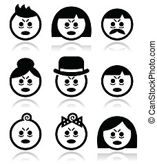 Tired or sick people faces icons se