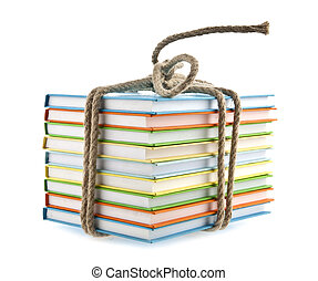 book conjunction with a rope on a white background