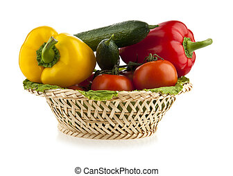 pepper, tomatoes and cucumbers in the basket