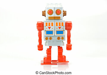 Robot - A toy robot isolated against a white background