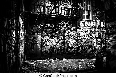 In the Graffiti Alley, Baltimore, Maryland. - In the...