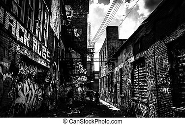 Sunny summer day in the Graffiti Alley, Baltimore, Maryland