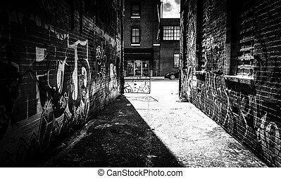 Looking toward Howard Street in the Graffiti Alley,...