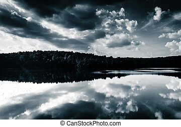 Afternoon cloud reflections in Prettyboy Reservoir,...