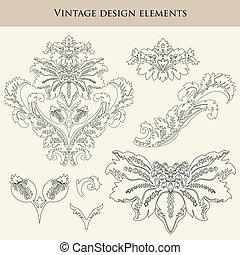 Vintage design floral elements