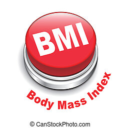 3d illustration of BMI ( Body Mass Index) button isolated...