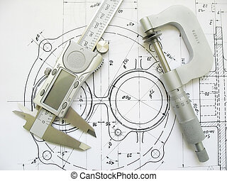 Engineering tools on technical drawing. Digital caliper and...