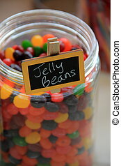 Glass jar of jelly beans - Clear glass jar of delicious...