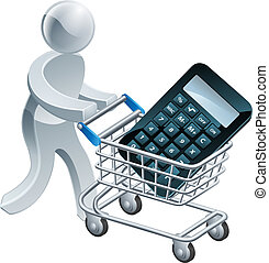 Shopping cart calculator person, a person pushing...