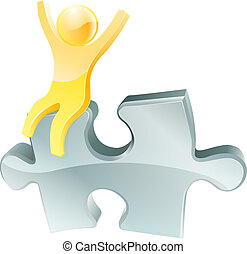 Gold person on jigsaw piece - An illustration of a happy...