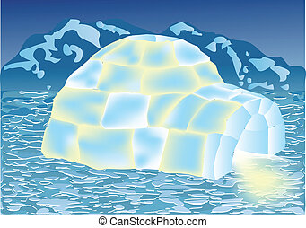 igloo in winter landscape. 10 EPS