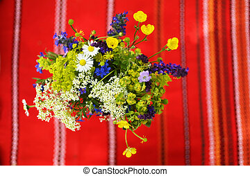 Easter flowers - Wild flower bunch shot from above with a...