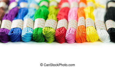 Embroidery thread - Colorful embroidery thread isolated on...