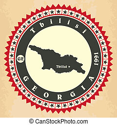 Vintage label-sticker cards of Georgia. Vector illustration