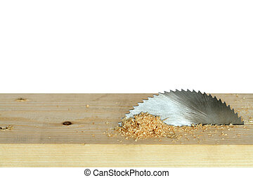 Circular Saw - Circular saw cutting wooden plank isolated on...