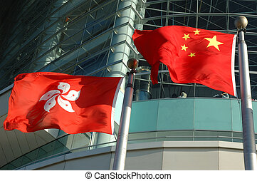 China and Hong Kong flags - Flag of People\'s Republic of...