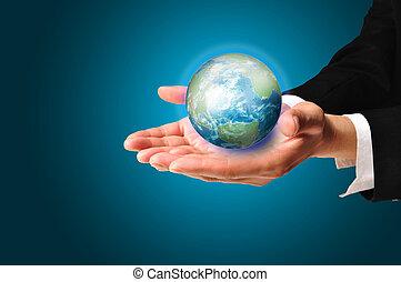 Terra, globo, presa, maschio, mano