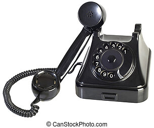 Bakelite Phone Cutout - Old Black Bakelite Rotary Phone...