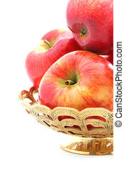 apples in a gold basket - apples in a gold engraved basket...