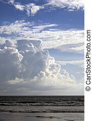 Indian ocean and the sky with clouds