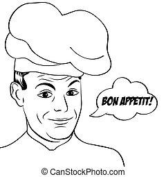 pop art man in cooker uniform , vector illustration