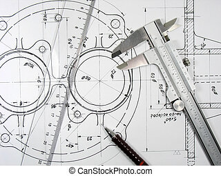 Caliper, ruler and pencil on technical drawings. Engineering...