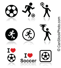I love football or soccer, man kick - Football black icons...